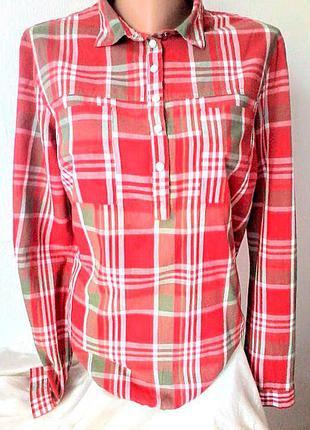 Стильная клетчатая рубашка, туника, блузка,бонприкс,хлопок 100%,42р-р