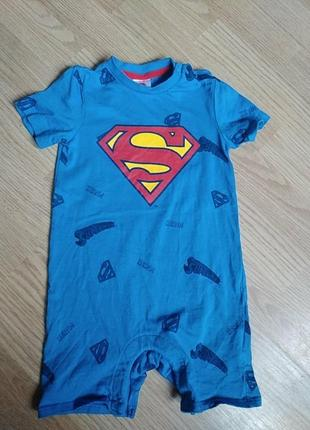 Песочник хлопковый  комбинезон летний супермен