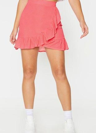 Розовая юбка с рюшами на высокой посадке plt