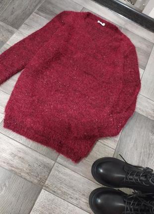 Бордовый плбшевый свитер с люрексом.только сегодня