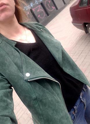 Куртка замшевая зеленая