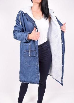 Джинсовая куртка парка на меху демисезонная