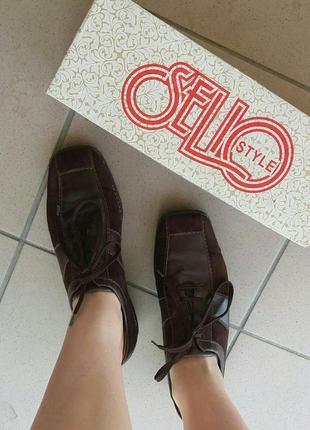 Стильные кожаные туфли с вставками из замши