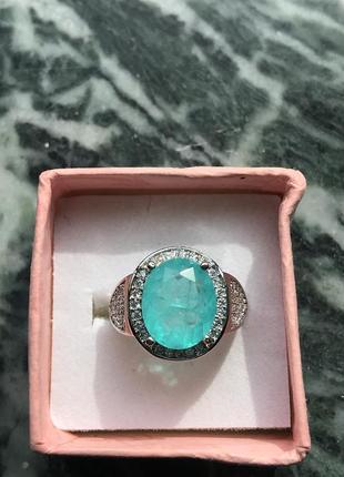 Камень красавчик турмалин параиба 10х12мм   кольцо серебро
