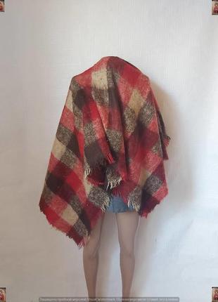Новый мега тёплый шарф со 100 % шерсти и мохером  в крупную клетку