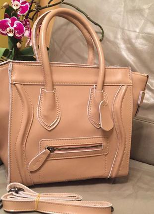 Люксовая сумочка селин, кожаная сумка celine, натуральная кожа