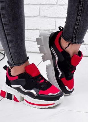 Кроссовки женские lubin черные + красный