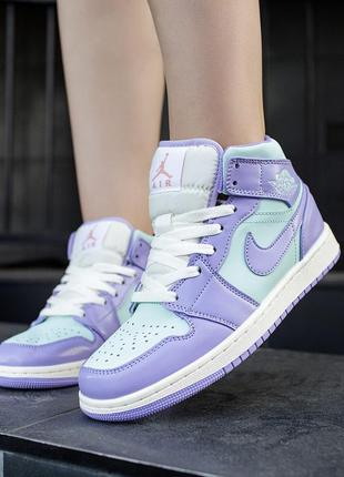 Кроссовки nike air jordan 1 mid purple aqua
