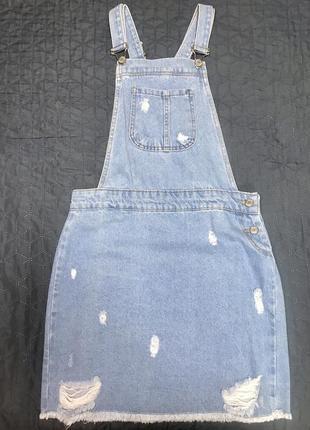 Сарафан джинсовый комбинезон женский юбка на пуговицах голубой джинс