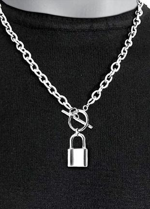 Ожерелье колье цепочка серебристая с подвеской замок