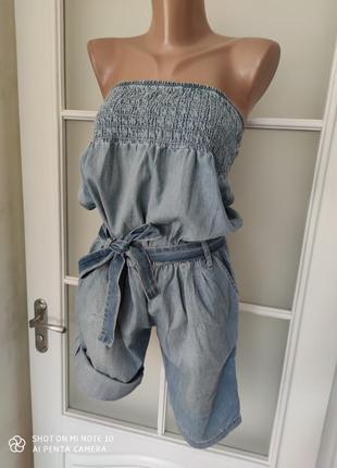 Комбенизон шортами джинсовый