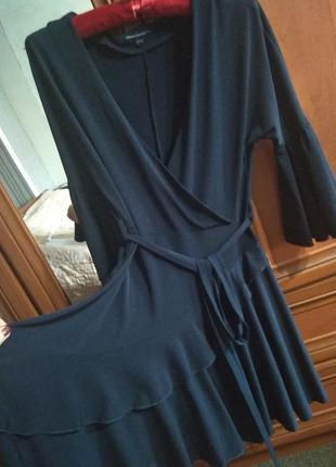 Платье под пояс рюши юбка клеш- s - м