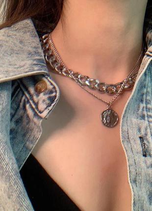 Ожерелье колье чокер цепочка серебристая многослойная с подвеской монета