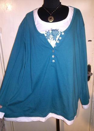 Натуральная,трикотажная,стильная блузка-лонгслив-свитшот с принтом,большого размера