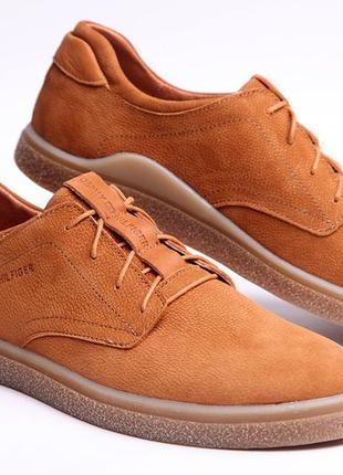 Кожаные мужские туфли tommy hilfiger brown leather