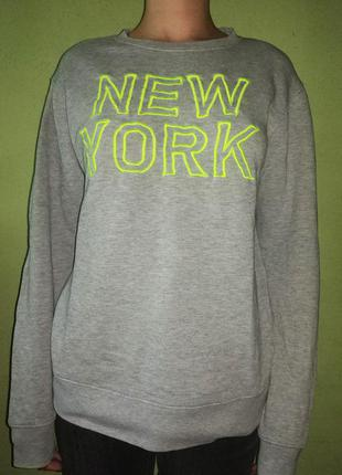 Серый свитшот пуловер джемпер кофта h&m xs/s/m