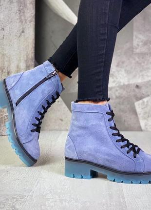 Рр 36-40 осень натуральный замш стильные ботинки