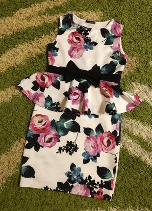 Платье с баской 14uk//сукня стрейчева з рюшкою