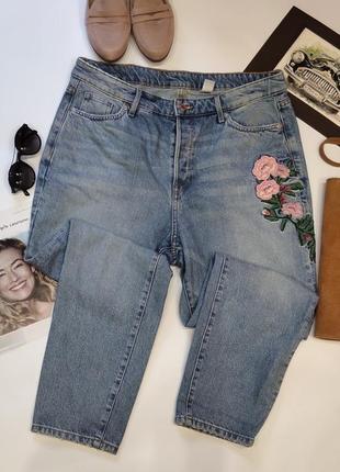 Идеальные джинсы мом на болтах с вышивкой!батал.