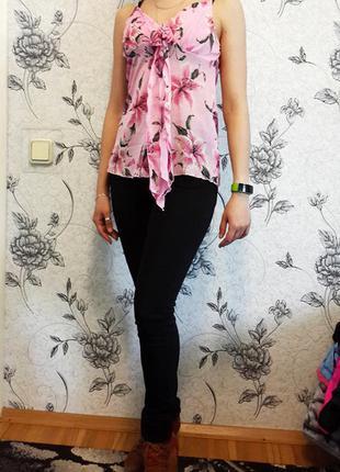 Розовая шифоновая блузка майка маечка с лилиями kikiriki