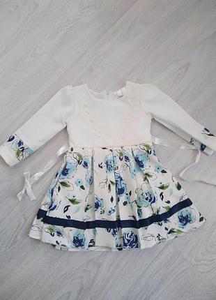 Нарядное платье с длинными рукавами на девочку 2-3 года