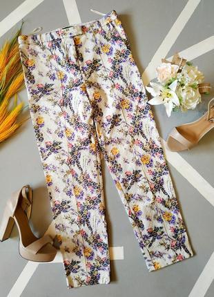 Шикарные трендовые брюки короткие укороченные жаккардовые