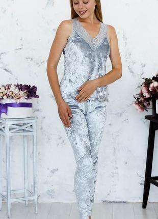 Mito julia 1601 майка брюки пижама комплект мраморный велюр серый с кружевом