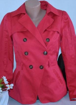 Брендовый яркий розовый коттоновый тренч с карманами без пояса h&m