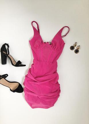 Платье боди розовое