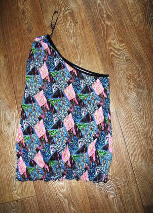 Майка denim яркая цветная розово черная на одно плечо футболка м модная
