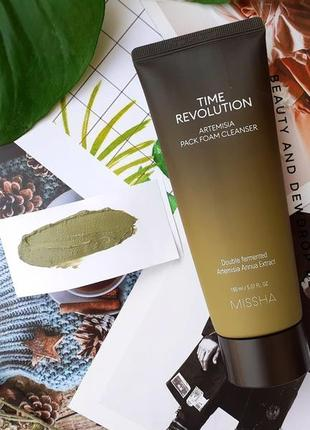 Маска-пенка с полынью missha time revolution artemisia pack foam cleanser