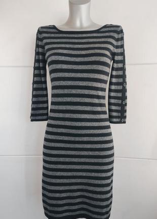 Стильное платье jaeger в полоску и пуговицами