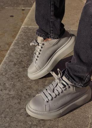 Кроссовки alexander mcqueen кожаные серый матовый цвет (36-42)💜