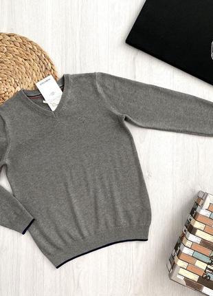 Серый школьный подростковый свитер джемпер кофта для мальчика piazza italia италия