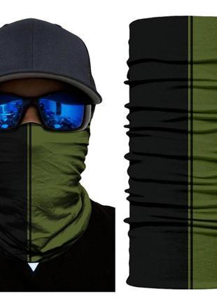 Бафф легкий бесшовный черный хаки; бандана вело маска шарф унисекс