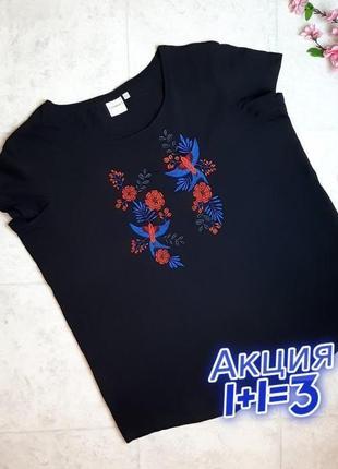 1+1=3 фирменная черная женская футболка с вышивкой junarose, размер 54 - 56