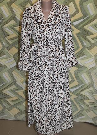 Женский длинный леопардовый махровый халат на запах без капюшона (шаль)
