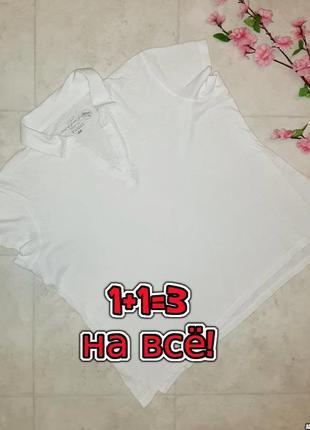 1+1=3 фирменная женская строгая футболка поло молочного цвета h&m, размер 52 - 54