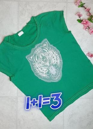 1+1=3 стильная зеленая футболка с тигром vila, размер 48 - 50