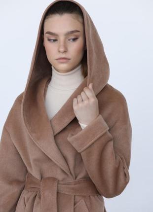 Шерстяное пальто с кашемиром с капюшоном демисезон зима