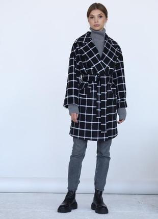 Шерстяное укорочённое пальто в клетку зима демисезон
