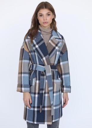 Шерстяное пальто в клетку зима демисезон