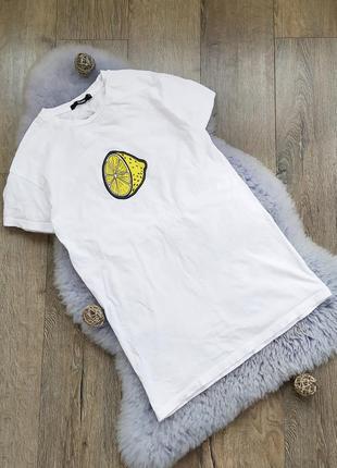 Удлиненная хлопковая футболка белого цвета лимон лимонад туника платье