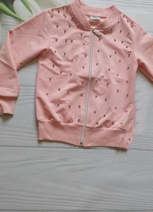 Нежная, нарядная кофта на молнии с бусинами на 5-6 лет