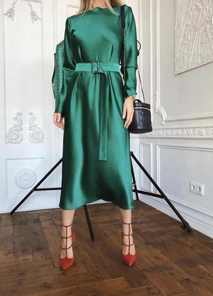 Платье зелёное шёлк армани