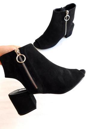 Замшевые ботильоны туфли с открытым носком на устойчивом каблуке от primark