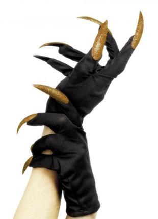 Хэллоуин перчатки с когтями черные с золотым