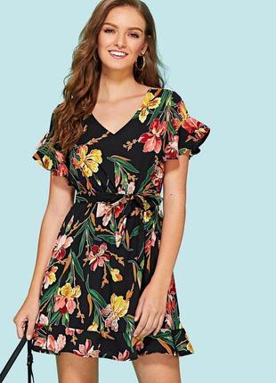 Натуральное платье с рюшами в цветочек сукня квіти с воланами
