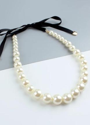 Ожерелье, колье жемчужное/чокер с лентой