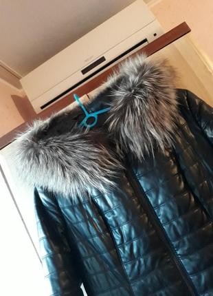 Торг)) кожаная/кожанная/кожанка зимняя куртка, пуховик, пальто с натуральным мехом